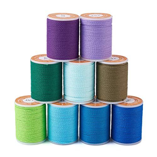 Beadthoven - Cuerda de poliéster encerado de 9 colores de 9 colores de macramé para costura, trenzado, joyería, collares, manualidades, 9 rollos