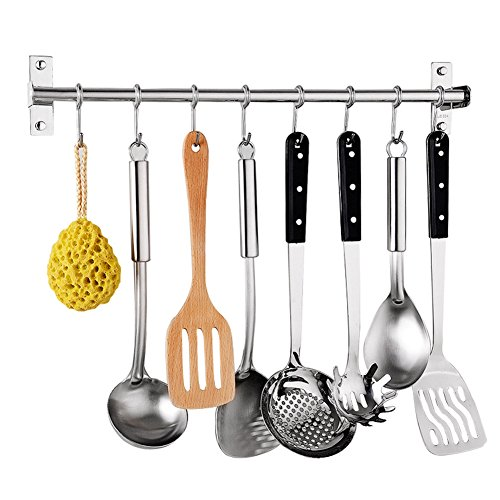Percha de cocina, de acero inoxidable, multiusos, organizador de utensilios de cocina, para montar en la pared, estante para colgar utensilios con 6 ganchos (40 cm, 6 ganchos) (40 cm, como se muestra)