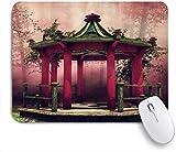 Benutzerdefiniertes Büro Mauspad,Pavillon Tai Chi Karte Grüner Wiesenbaum Blume Rosa Nebel,Anti-slip Rubber Base Gaming Mouse Pad Mat