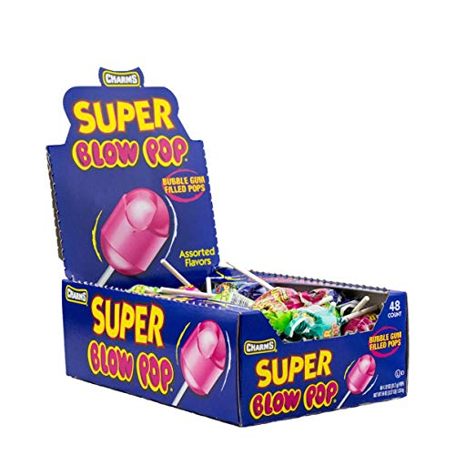 Charms Super Blow Pops 48 Lollipops/Box,Assorted Flavors, 1 Pack of 48