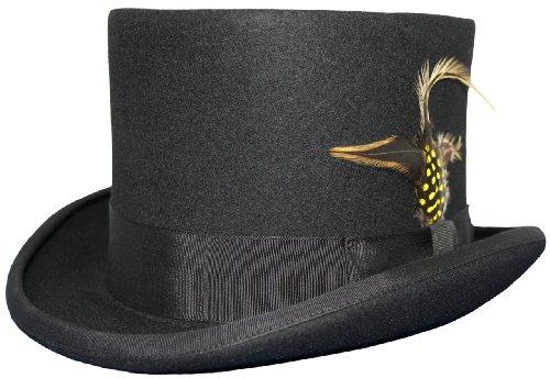 Chapeau haut-de-forme avec plumes amovibles Noir 100% laine Doublure en satin pour Mariage - Noir - X-Large