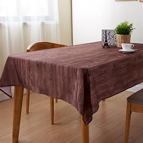 Polyester Bois Grain Impression Nappe Imperméable Tache-Résistant Lavable Dîner Pique-Nique Entretien Facile Table Tissu Accueil Décor LAD-I , 130*180cm