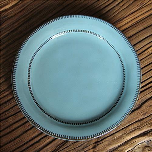 YAeele Norte de Europa Vajilla de cerámica Filete Placa de Ensalada de Fruta 22x2.5cm Postre Sopa Tazón Bandeja de Alimentos y Bebidas vajilla