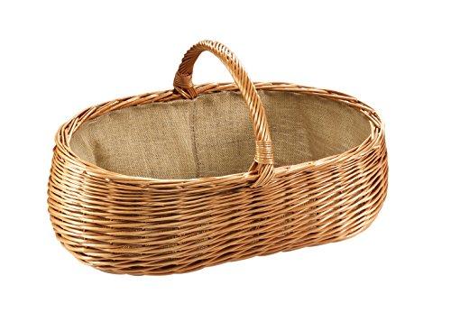 Kaminholzkorb Universalkorb Kaminkorb Weidenkorb oval Holzkorb gekochte Weide mit Jutefutter