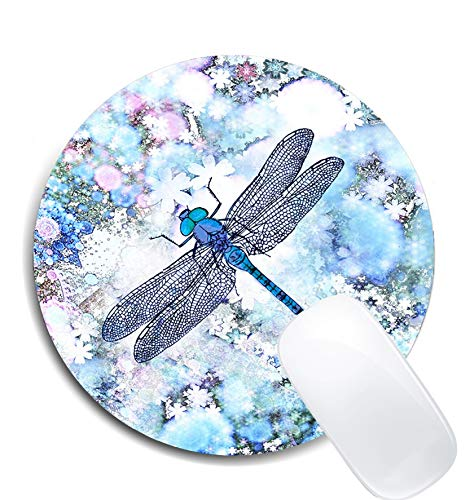 Beautiful Blue Dragonfly Tot Round Mouse Pad,Premium-Textured Non-Slip Rubber Base Mousepads Office Accessories Desk Decor Mouse Pads for Computers Laptop