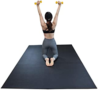 RevTime Large Exercise Mat 6 x 4 feet (72 x 48 x 1/4) 6 mm Thick & High Density Mat for Home Cardio and Yoga Workouts, Durable Gym Floor Mat, Black