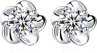 earrings for women, 925 sterling silver plum blossom earrings, gift for women and ladies