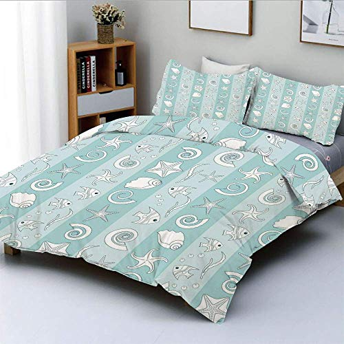 Duvet Cover Set,Marine Theme Sea Animals Fishes Shells on Striped Blue Background Decorative 3 Piece Bedding Set with 2 Pillow Sham,Baby Blue Light Blue White,Best Gift For Kids