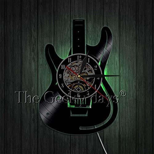 FDGFDG Musik ist Soul Vinyl Schallplatte Wanduhr Gitarre Kunst Dekoration Uhr 3D Wanduhr Musikinstrument Wandbild Raum Violine Gitarre