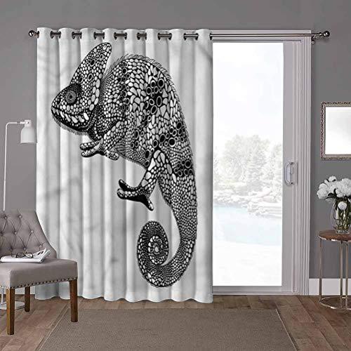 YUAZHOQI cortinas correderas de vidrio para puerta, tatuaje, Iguana con puntos dálmatas, 100 x 108 pulgadas de ancho Panel de puerta de vidrio deslizante para Oversleep (1 panel)
