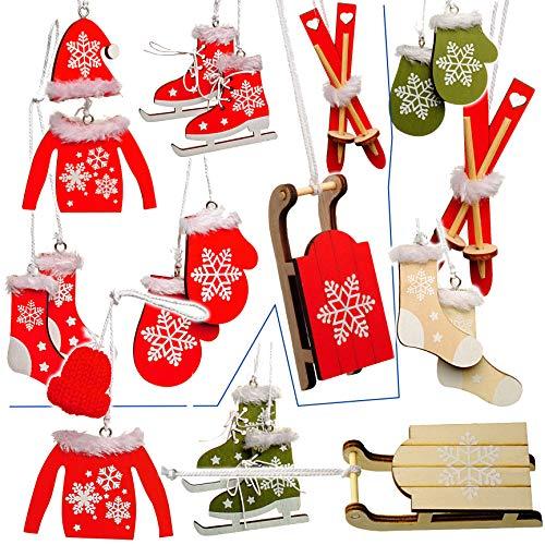 alles-meine.de GmbH 20 TLG. Deko Set -  Winter & Weihnachten - Ski / Schlittschuhe / Schlitten - aus Holz - Miniatur / Diorama - Anhänger - Weihnachtsdeko / Winter - Winterurla..