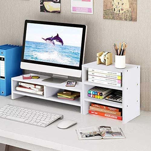 Cocoarm Monitorständer Bildschirmständer Desktopständer Schreibtischaufsatz Bildschirmerhöhung Monitorerhöhung Desktop Computer Schreibtisch Organizer 3 Schicht Desktop Storage Regal Weiß
