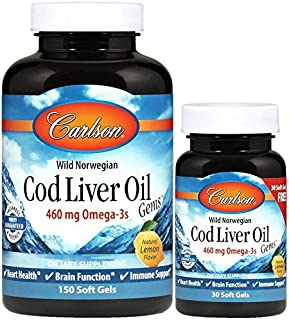Carlson - Cod Liver Oil Gems, 460 mg Omega-3s + Vitamins A & D3, Wild-Caught Norwegian Arctic Cod Liver Oil, Sustainably S...