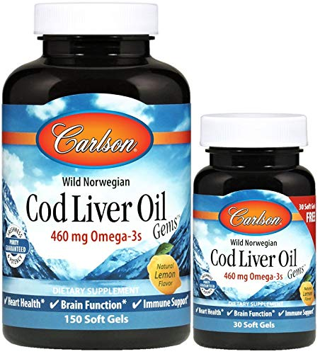 Carlson - Cod Liver Oil Gems, 460 mg Omega-3s + Vitamins A & D3, Wild-Caught Norwegian Arctic Cod Liver Oil, Sustainably Sourced Nordic Fish Oil Capsules, Lemon, 180 Softgels