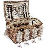 HappyPicnic - Juego de cesta de picnic para 4 personas, mimbre natural con juego de vajilla, la...