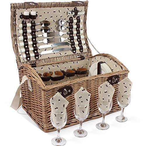 HappyPicnic Willow Picknickkorb Set für 4 Personen, natürlicher Wicker Picknickkorb mit Geschirrset, bestes Geschenk für Weihnachten, Geburtstag oder Hochzeit