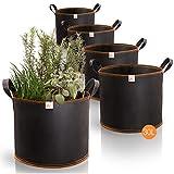 AmazyPflanzsack 30L 5er Set (Ø35cm, Höhe 30cm) – Pflanzbeutel aus robustem Vlies – atmungsaktiv + widerstandsfähig | Pflanzsäcke für UrbanGardeningHobbygärtner zum Anbau von Gemüse & Obst