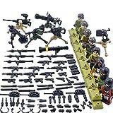 NURICH 8pcs Mini Figurine Policier Lot Figurine SWAT Team Militaires Soldats et Armes Jeu de Construction pour Enfant, Compatible avec Lego
