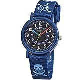 Regent Kinder-Armbanduhr Elegant Analog Textil-Armband blau Quarz-Uhr Ziffernblatt blau URF951