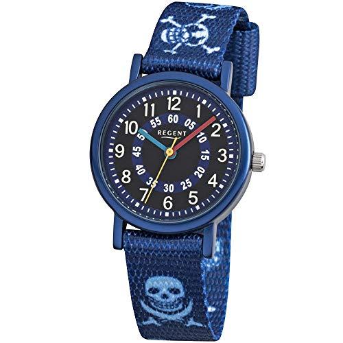 Regent Unisex-Kinder Analog Quarz Uhr mit Textil Armband 12400247