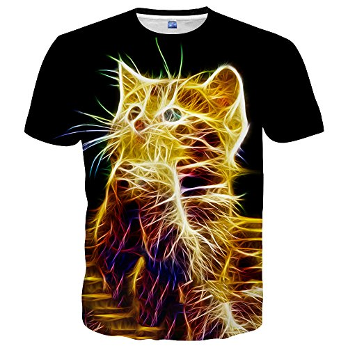 Yasswete Cat T-Shirts for Men Women Unisex 3D Printed Short Sleeve Shirts Tops Graphic Shirts Size L