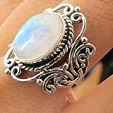 Vintage Jewelry Women Men 925 Silver Moonstone Wedding Engagement Ring (7)