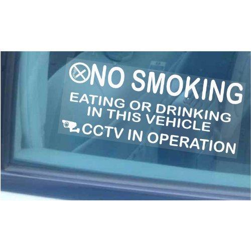 Platinum Place Aufkleber für Fahrzeug-Fenster, Rauchen, Essen und Trinken verboten (englischsprachig), für Verschiedene Fahrzeugtypen, groß, 205mm x 87mm, 2 Stück