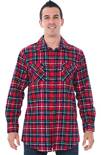 Alexander Del Rossa Mens Flannel Shirt, Long Sleeve Cotton Top, Large Blue Red and Green Plaid (A0704Q19LG)