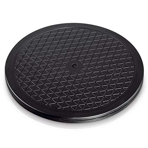 Hama - Plataforma giratoria universal redonda, 25,5cm, carga de 60kg (ideal para TV, altavoces, monitores y utensilios de cocina), negra