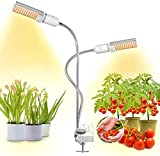 45W Plant Light,Bozily Dual Head Gooseneck Grow Lamp,LED Plant Grow Lights for Indoor Plants Full Spectrum, Artificial Sunlike,Clip-on Grow Light with 4 Dimmable for Plants from Seeding to Harvest