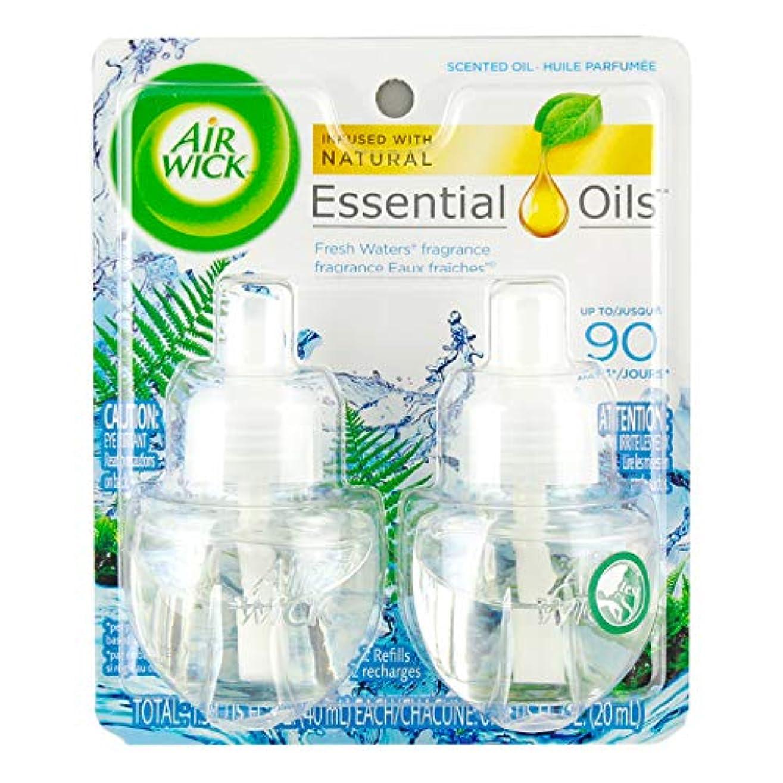 湖寄付八百屋さん【Air Wick/エアーウィック】 プラグインオイル詰替えリフィル(2個入り) フレッシュウォーター Air Wick Scented Oil Twin Refill Fresh Waters (2X.67) Oz. [並行輸入品]