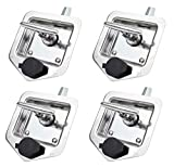 Mytee Products (4 Pack) T-Handle Tool Box Lock Rv Door Latch with Two Keys Stainless Steel Polished