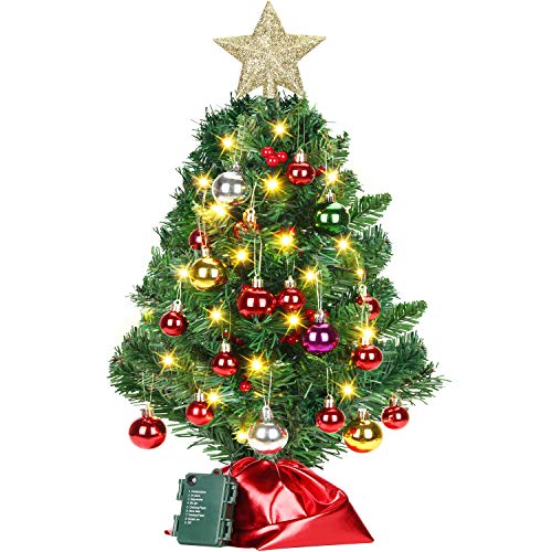 ELOVER 24 inch Tabletop Mini Christmas Tree with 50 LED String Lights,Desk Christmas Tree and Ornaments for DIY Christmas Decorations