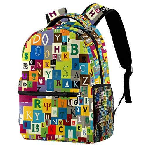 Sports Backpack Gym Bags with Shoe Compartment Wet Pocket Travel Backpacks Anti-Theft Pocket Water Resistant Workout Bag (Colorful)Abstract Letters