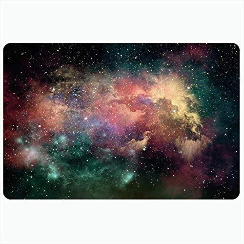 LIS HOME Badteppich für Badezimmer rutschfeste Matten 3D-Glanz Galaxie Computeruniversum Wolkengrafik Nebel Sternenhimmel Natur Texturen Reisennebel Plüsch Dekor Fußmatte rutschfeste Trägermatte