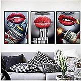 hpkcine Stampa su Tela Stampa Poster su Tela Pittura per Labbra per Soggiorno Pub Picture Wall Art Grandi Quadri Moderni Decorazioni per la casa Senza Cornice