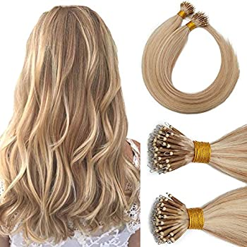 Nano Ring Hair Extensions Nano Bead Human Hair Microlink Hairpieces Cold Fushion Pre Bonded Remy I Tip Hair Highlight Nano Tipped Hair Extensions For Women 16inch 50g/PACK 50 Strands #18P613