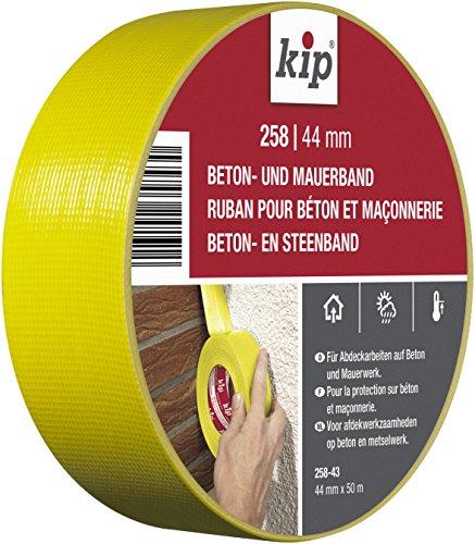 Kip Beton- und Mauerband 258-43 - Gewebeband für anspruchsvolle Anwendungen im Außenbereich - gelb 44mmx50m