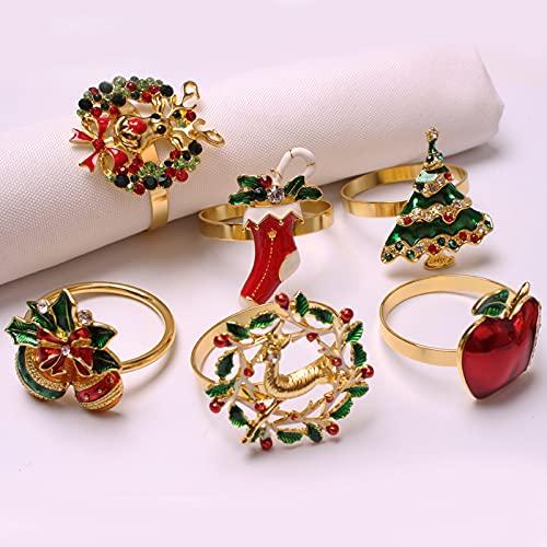 Plcnn Lot de 6 ronds de serviette de Noël colorés avec strass - Pour mariage, Thanksgiving, vacances, dîner quotidien, fête