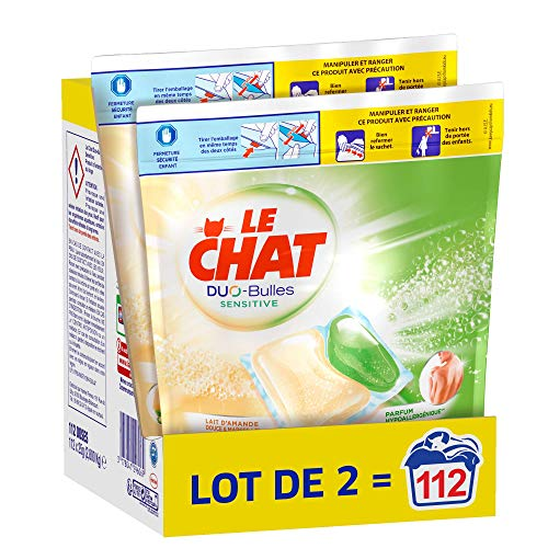 Le Chat Sensitive Duo-Bulles – 112 Lavages (2 x 56 Doses) – Lessive Hypoallergénique en Capsules – Lait d'Amande Douce & Marseille