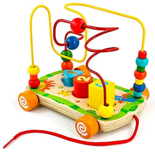 Nuheby Gioco di Bead Maze Roller Coaster in Legno Labirinto Giochi Educativi Ragazza Ragazzo 3 4 5 6 Anni Regalo