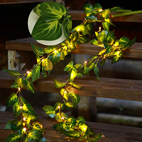YJFWAL Artificial Green Leaf Garland String Lights ,Vine Fairy Lights 6.5ft 20 LED Copper Battery Powered -8 Mode Fake Greenery Decor for Home Kitchen Garden Office Wedding Wall (Warm White)