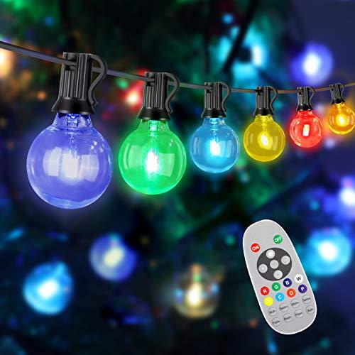 LED Lichterkette Außen Bunt, Außenlichterkette RGBW Dimmbar mit Fernbedienung, LEOEU Wasserdicht Gartenlichterkette 8M mit 27 Birnen, Glühbirnen Beleuchtung für Party, Terrasse, Hochzeit, Innen, Deko