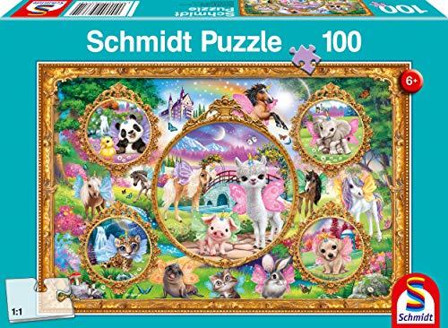 Schmidt Spiele 56371 Animal Club, Einhorn-Tierwelt, 100 Teile Kinderpuzzle