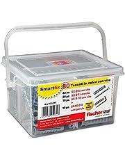 Fischer 531271 Kit Smartfix Box pluggen met schroef met haken voor fantasierijke gebouwhuls en geperforeerd, grijs, set van 80 stuks