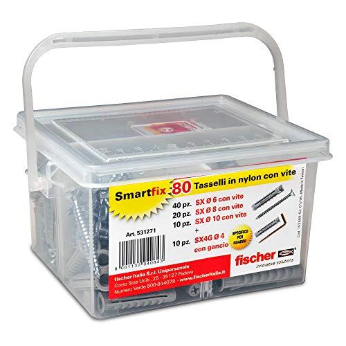 Fischer 531271Kit Smartfix Box Dübel mit Schraube mit Haken für phantasievolle Gebäudehülle und gelocht, grau, Set von 80Stück