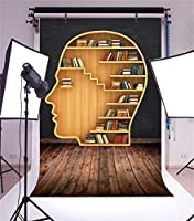 Yeele Bookshelf Backdrops 5x 7ft/1.5X 2.2M Humanヘッド形状本棚ライブラリ勉強部屋木製床画像大人用芸術的肖像写真の撮影小道具写真撮影背景