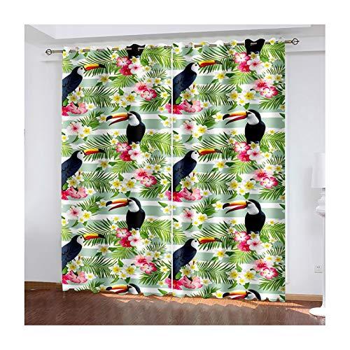 Beydodo Cortina Poliester Habitacion Cortinas De Dormitorio 2 Piezas Pájaros con Flores y Hojas Verde Negro Cortina Dormitorio 274x274CM