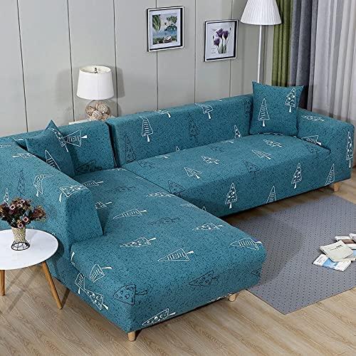 ASCV Tryckt stretch stretch soffskydd, vackert dekorativt mönster, vardagsrum soffa handduk, vardagsrum halkfri soffskydd A4 3-sits