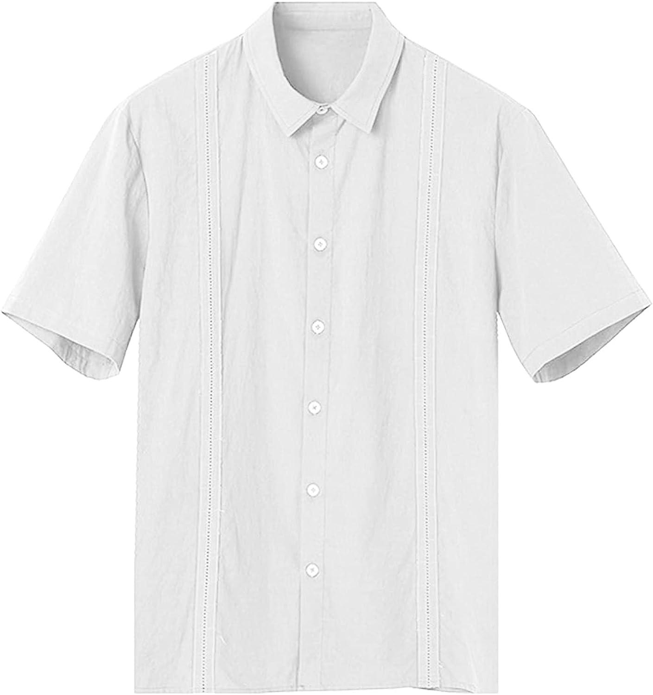 WOCACHI 2021 Men's Casual Shirts, Summer Button Down Short Sleeve Tops Fashion Loose Cotton Linen Beach Tshirts